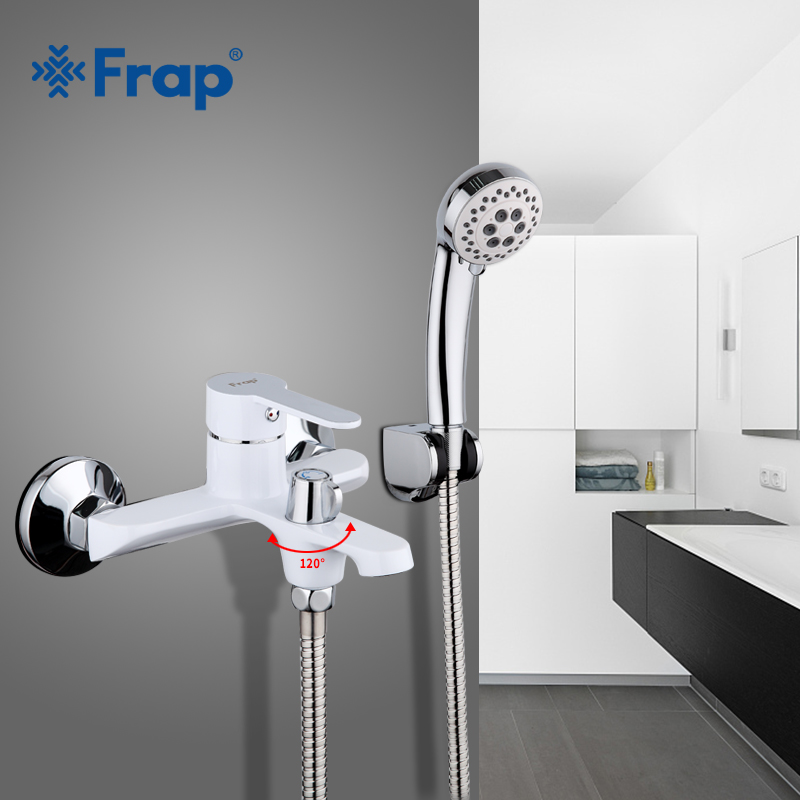 FRAP white bathroom fixture waterfall restroom bath shower faucets set wall mounted bathtub rain shower faucet mixer set F3241 frap new bathroom shower faucets set black bathtub tap mixer wall mounted waterfall bathtub faucet with hand shower head f2242
