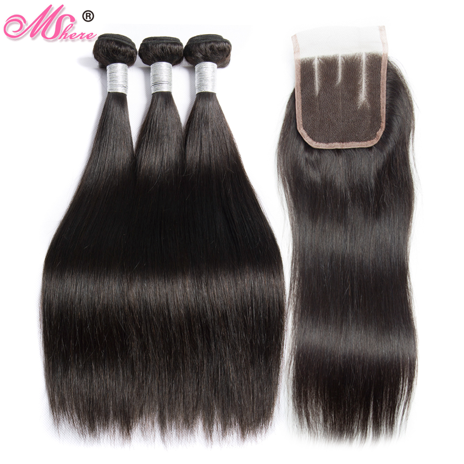 Mshere Straight Hair Malaysian Human Hair Bundles With Lace Closure 3 Bundles With Closure Natural Color