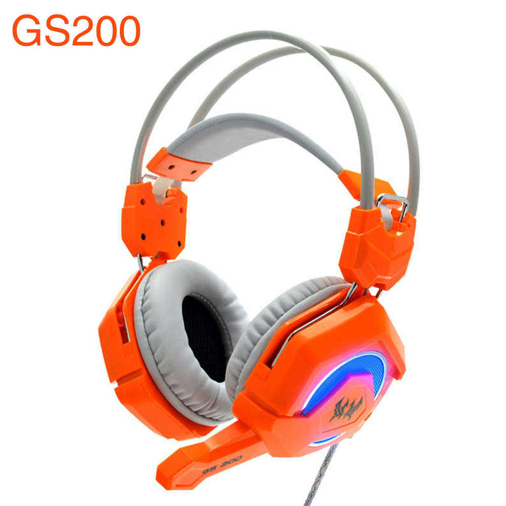 ФОТО Pro Gaming Headphone Noise Reduction Each GS200 Breathing LED Stereo Earphone Haedsets Headband +3.5mm Mic For PC Laptops
