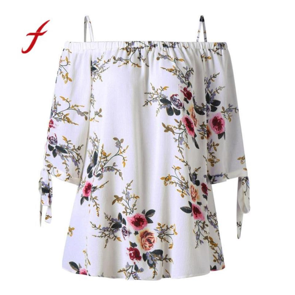Women Plus Size Floral Print Cold Off Shoulder Bandage Female Loose Casual Tops Large Casual Clothes Shirts Summer Tops