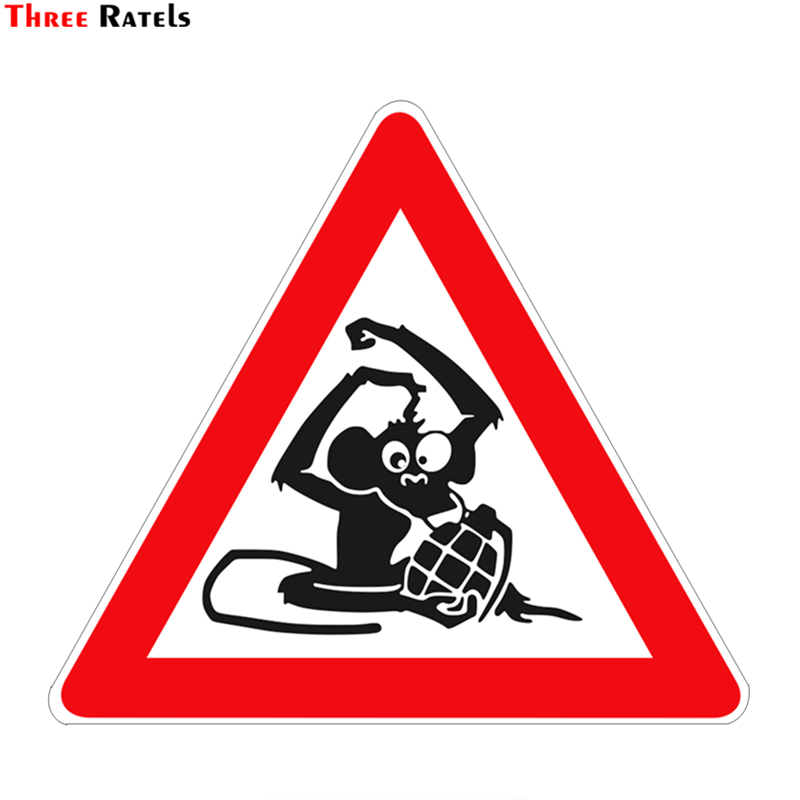 Three Ratels TZ-966# 13*15cm 1-4 Pieces Colorful PVC Car Sticker Caution! Monkey Auto Funny Car Stickers
