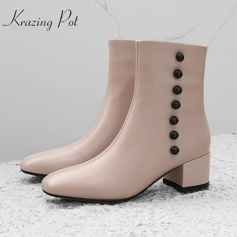 Krazing Pot natural genuine leather round toe women button buckle beading streetwear mature lady elegant brand ankle boots L31 elegant a line round button midi skirt for women