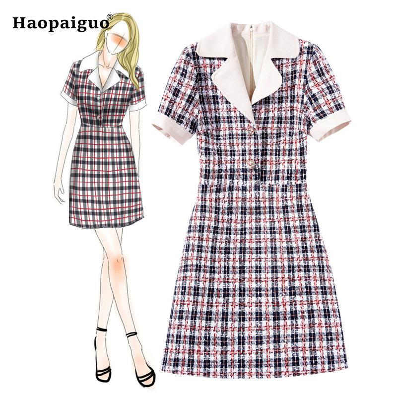 Plus Size Plaid Tiger Button Mini Dress Club Wear for Ladies Turn down Collar Tweed Slim Women Dress Elegant Robe Femme Ete 2018