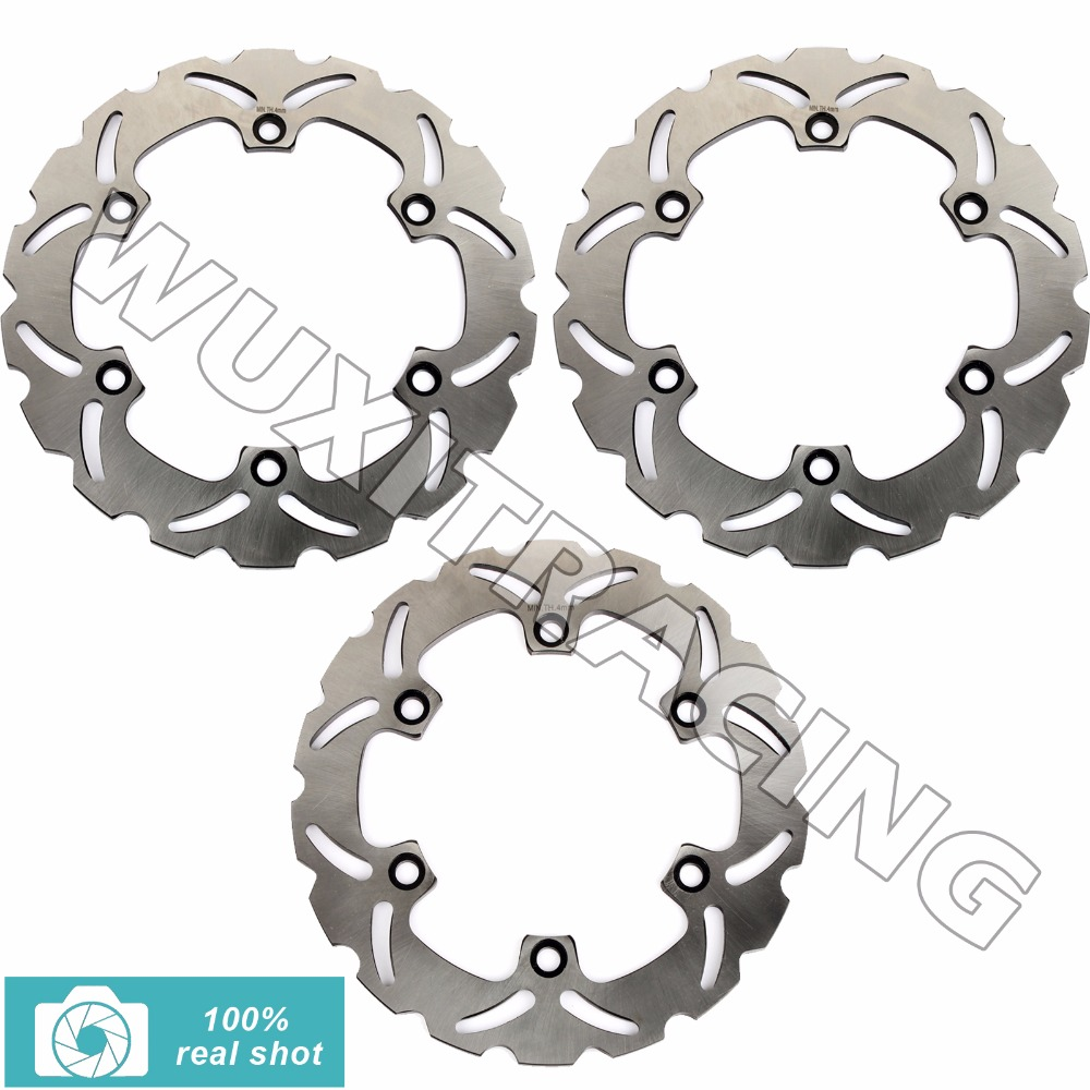 3pcs Full Set Front Rear Brake Discs Rotors for KAWASAKI GPX 600 R / Warbird ZX600C 1988 1989 1990 1991 1992 1993 1994 1995 1996 motorcycle front rear brake pads for kawasaki gpx 600 r zx600 1988 1996 gpx 750 r zx750 1987 1989 zr750 1991 1995 zx100 zx10 p04