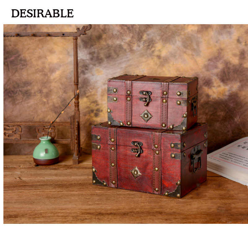 DESIRABLE Vintage wooden storage box size two kinds of jewelry and other small items creative storage box