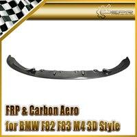 For BMW F82 F83 M4 Carbon Fiber 3D Style Front Lip Glossy Fibre Car Accessories Bumper Splitter Trim Racing Spoiler Body Kit
