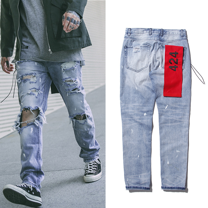 2017 top best version justin bieber 424 fashion men jeans 30 36 skinny blue distressed ripped. Black Bedroom Furniture Sets. Home Design Ideas
