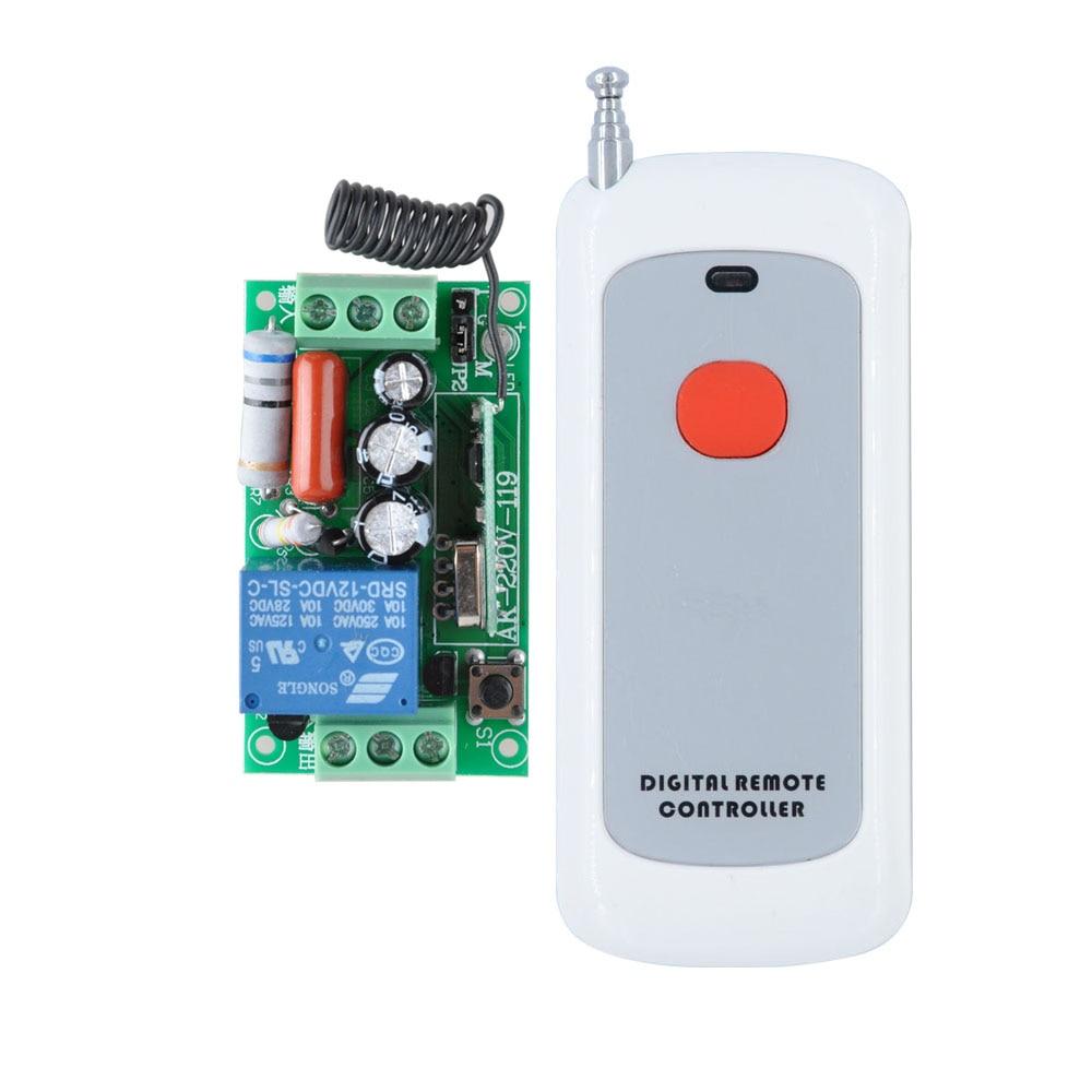 AC 220V 1CH 10A Relay RF Wireless Remote Control Switch Wireless Light Switch 1Button Remote Controller