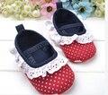 2016 nuevo estilo hecho a mano de Mary jane de encaje banda elástica Flores recién nacido toddle zapatos de bebé inferiores suaves de algodón bebé gilrs no silp zapatos