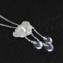 Lotus Fun Real 925 Sterling Silver Natural Handmade Fine Jewelry Ethnic Cloud Long Tassel Pendant without Necklace for Women