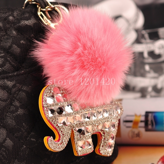 Elephant Keychain Purse Charm Sparkly Elephant Pink Genuine Fox Fur Ball POMPOMS Key chains Female Car Keys Ring Handbag Charm