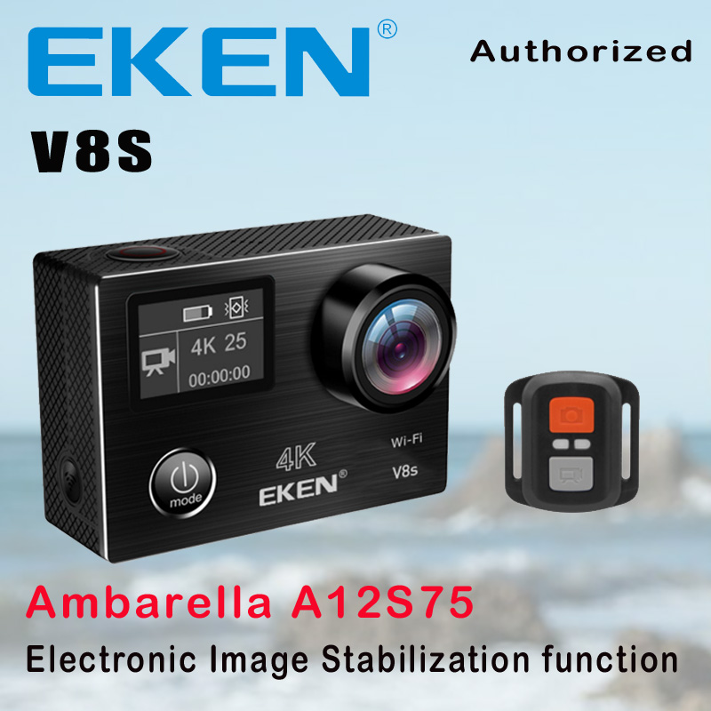 Action Camera Deportiva EKEN V8S Ultra HD 4K Ambarella A12 WiFi Electronic Image Stabilization Go Waterproof Pro Sport DV Camera original eken action camera eken h9r h9 ultra hd 4k wifi remote control sports video camcorder dvr dv go waterproof pro camera