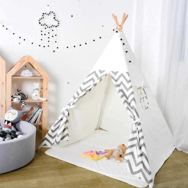 Kids Teepee Play Tent – Grey Chevron