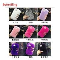 DIY Real Rex Rabbit Fur Hair Phone Case For Iphone 5 5s Se 4 4s Ipod