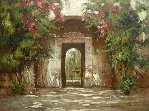 Hand painted impressionist landscape oil painting the door - Oil painting ideas for living room ...