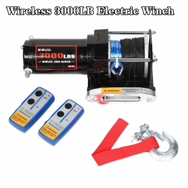 Winch Car 12V Wireless 3000LB / 1361KG Electric Winch Synthetic Rope ATV Electric Winch