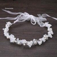 להקות שיער פרח גביש לבן אופנה בנות פרל רצועת כלים סרט כתר מתכוונן לנשים חתונת אבזרים לשיער