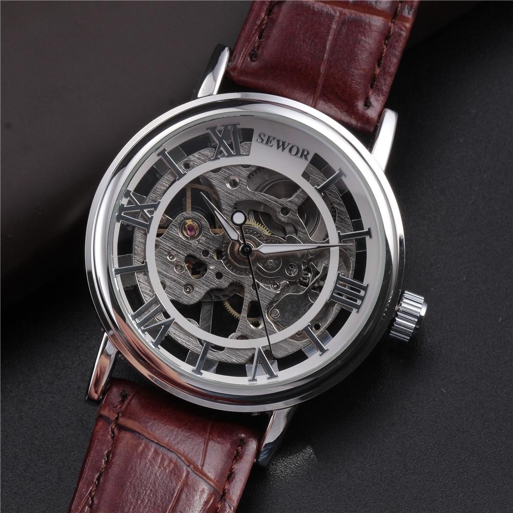 Top marca de lujo SEWOR esqueleto relojes hombres Steampunk mano - Relojes para hombres - foto 3