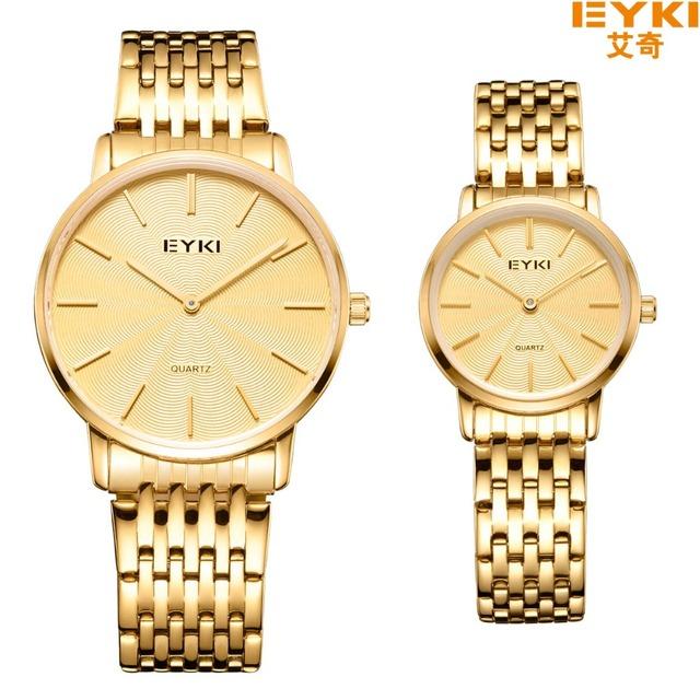 Eyki luxo marca relógios das mulheres de aço inoxidável relógio de quartzo de marcação fina dupla pointer senhoras vestido presente relógio de pulso montre femme
