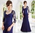 2017 Mãe Dos Vestidos de Noiva Sereia Mangas Meia Apliques Azul Royal Frisada Mãe Vestidos Vestidos de Noite Para Casamentos