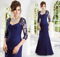 2017 Mother Of The Bride Dresses Mermaid Half Sleeves Royal Blue Appliques Beaded Mother Dresses Evening Dresses For Weddings
