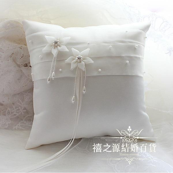 wedding ring pillow beige 21 21cm satin flower handmade