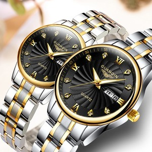Image 2 - GUANQIN Fashion Couple Watch Set Stainless Steel Men Women lovers Watch Luxury Blue Quartz Watch Women Clock Ladies Wrist Watch