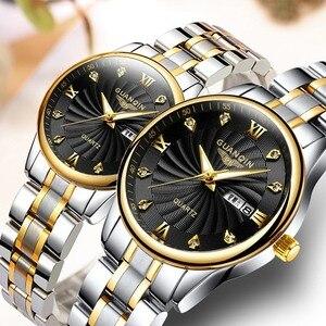 Image 2 - GUANQIN montre Couple en acier inoxydable, montre de luxe Quartz bleu, horloge pour femmes, amoureux