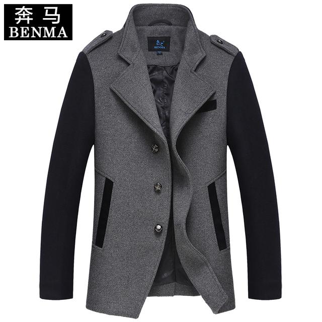 Hombres ropa otoño e invierno abrigo de lana medio-largo de los hombres de lana de cachemira trinchera abrigo prendas de vestir exteriores tamaño M-XXXL envío libre gratis