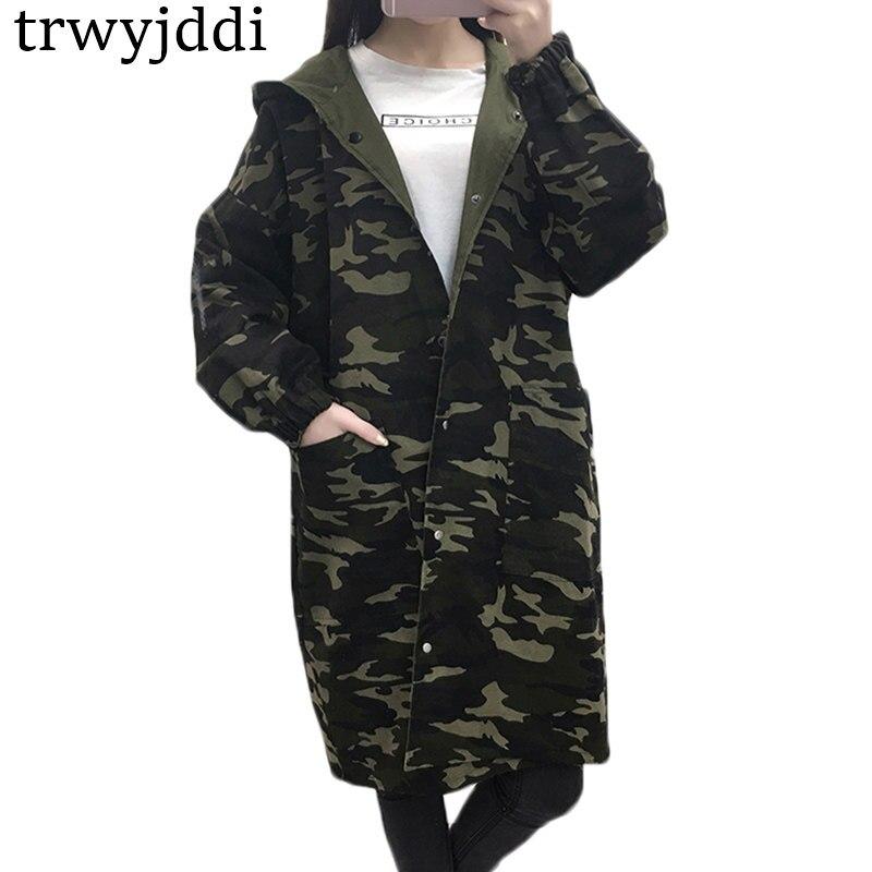 Hooded Women Spring Coat Female 2018 Korean Outwear Loose Big Size Both Sides Wear Long Windbreaker Camouflage   Trench   Coat hl207