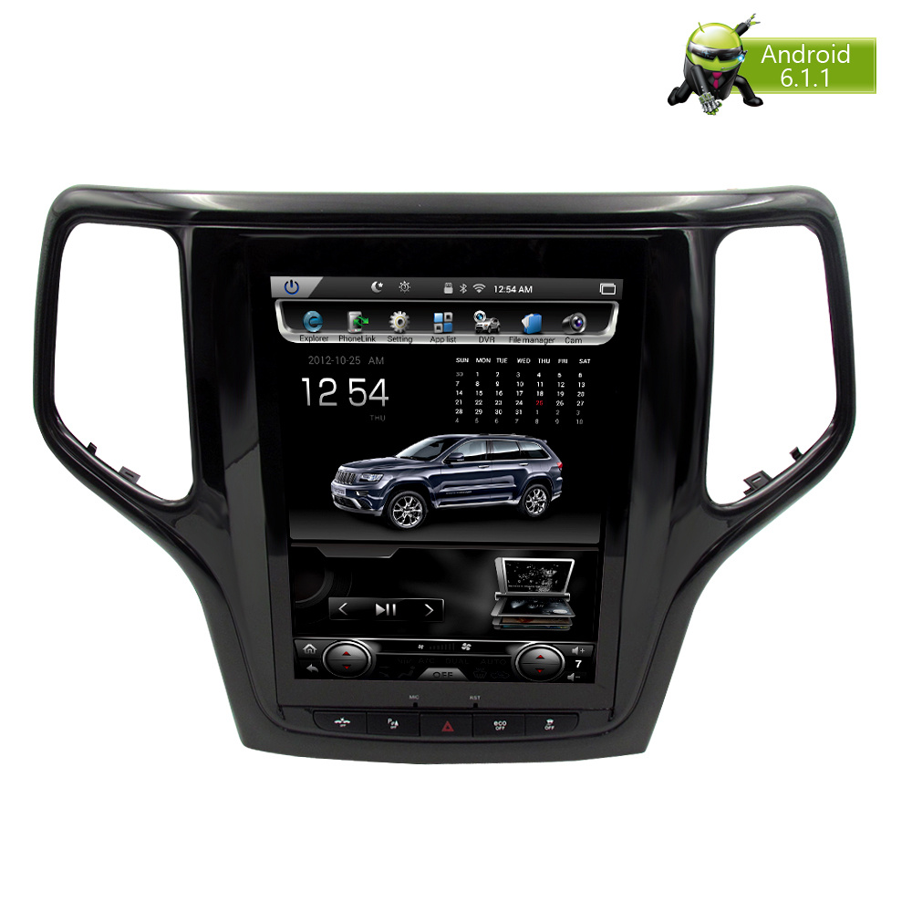 Vertical Écran Android 7.1 Voiture DVD GPS Glonass Navigation Radio Lecteur pour Jeep Grand Cherokee 2013-2016 RAM 2 gb 32g Stéréo