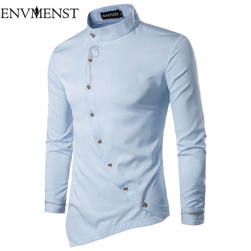 Envmenst 2017 New font b Men s b font Long Sleeve Slim Shirt Male Stand Collar