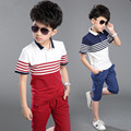 Retail 2016 new Children summer clothing set Boys fashion Stripe sport suit kids casual set short sleeve T-shirt and pants