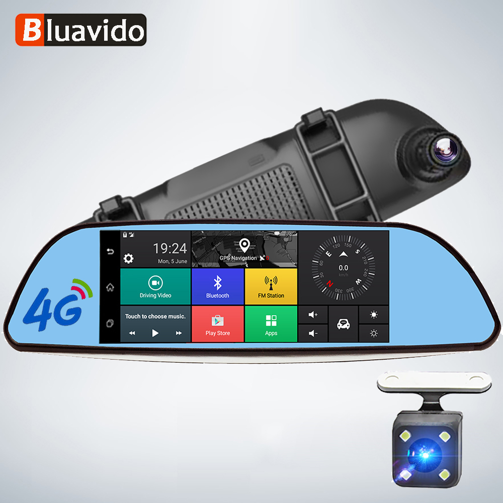 Bluavido 4G ADAS Android DVR 7 Rear View Mirror GPS Car video Recorder FHD 1080P Dash