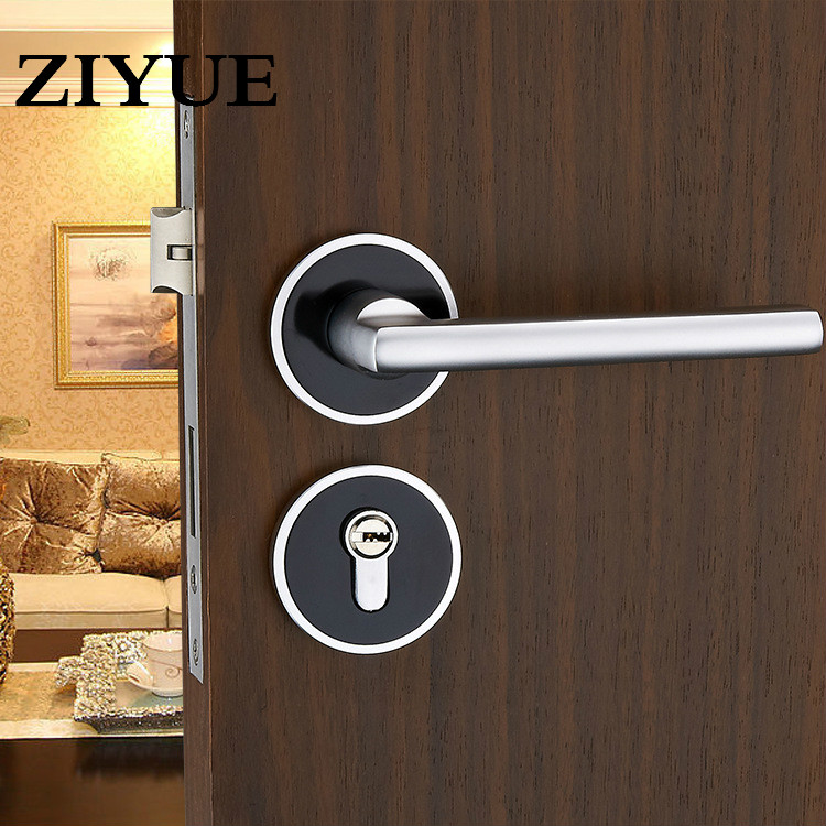 Free Shipping Black Space Aluminum Door Lock Interior Bedroom Lock Mechanical Handle factory interior door lock living room space aluminum mechanical lockset wholesale quality assuranced handle locks