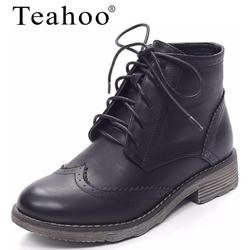 Teahoo 2017 new retro lace up women s martin boots pu ladies ankle boots flat with.jpg 250x250
