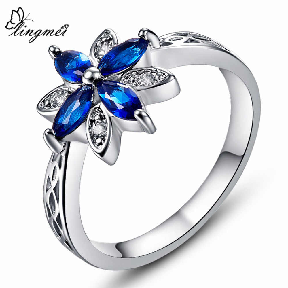 lingmei Wholesale Beauty Flower Women Wedding Rings Cubic Zirconia Jewelry White Gold Color Ring Size 6 -10