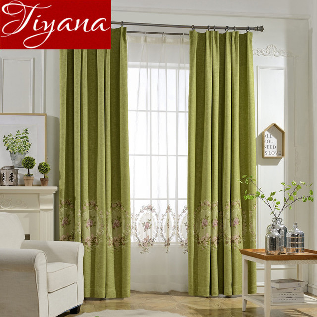 Green Curtains Embroidered Voile Modern Window Living Room American Bedroom  Tulle Curtains Drapes Sheer Fabric Shade