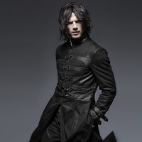 Steampunk Gothic Autumn Winter Stand Collar Windbreakers Super Handsome Overcoats Punk Killer Buckle Man Outer Long Coats