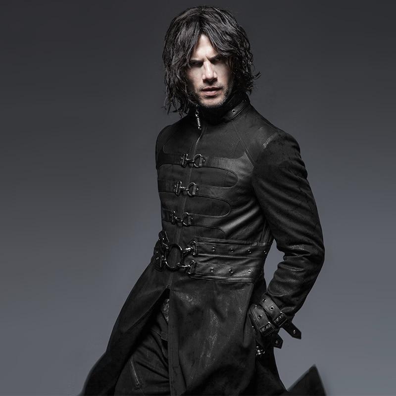Steampunk gothique automne hiver Stand-col coupe-vent Super beau pardessus Punk tueur boucle homme extérieur Long manteaux