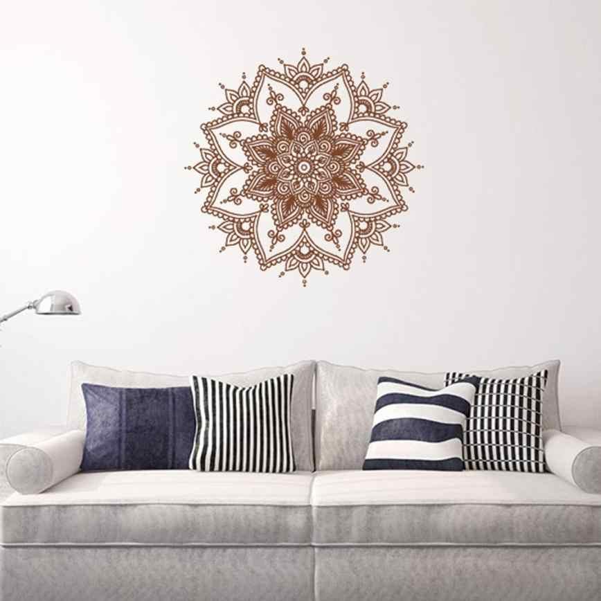 Mandala Menhdi ดอกไม้รูปแบบรูปลอกเครื่องประดับ Om อินเดียห้องนั่งเล่นสติ๊กเกอร์ติดผนัง Pinturas Murais โยคะ Art ไวนิล Mural # e8