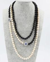 Возле круглого пресноводного жемчуга 8-9 мм белый и черный камень 8 мм круглый ожерелье 60 дюймов цветок FPPJ