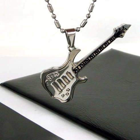 Wholesale Popular hot sell New Guaranteed 100% Stainless Steel Guitar Pendant Necklace Free Chain+ free shipping