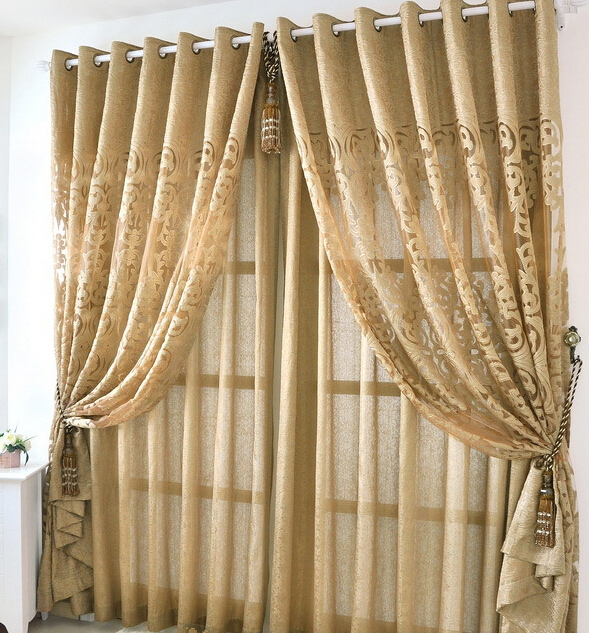 Europe Style High Grade Classical Luxury Gold Jacquard Window Blinds  Curtains Hollow Voile Curtain For Living Room Cortinas In Curtains From  Home U0026 Garden ...