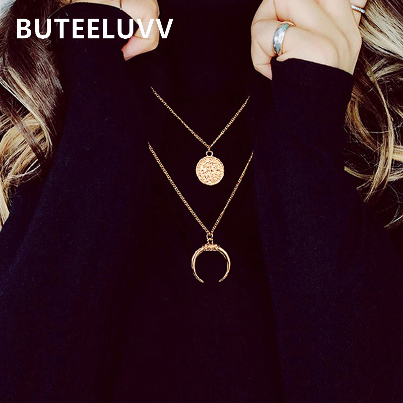 BUTEELUVV Elegant New Moon Pendant Necklace for Women Minimalist Gold Carved Coin 2 Layered Chain Necklace Fashion Jewelry