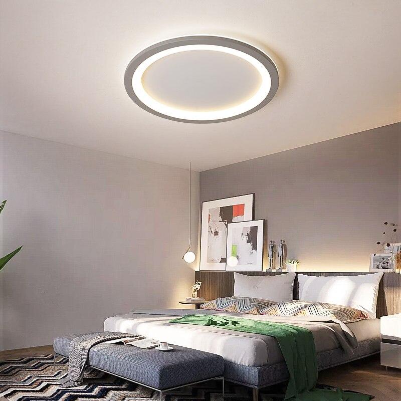 Ultra-fino quadrado/superfície redonda montado moderno led lustre para sala de estar estudo quarto branco/cinza cor lustre