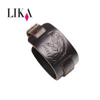 LIKA Vintage Genuine Leather Wide Bracelet Rock Cowhide Bracelets Bangles Punk Casual Men S Black Bracelet
