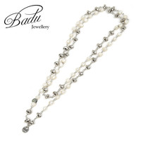 Badu Handmade Freshwater Pearl Silver Alloy Beads Necklaces For Women Elegant Fashion Jewelry For Party Dancing