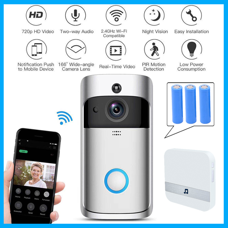 Wifi doorbell Camera Smart WI-FI Video Intercom Door Bell Video Call For Apartments IR Alarm Wireless color lens Security Camera computer intelligence racking machine