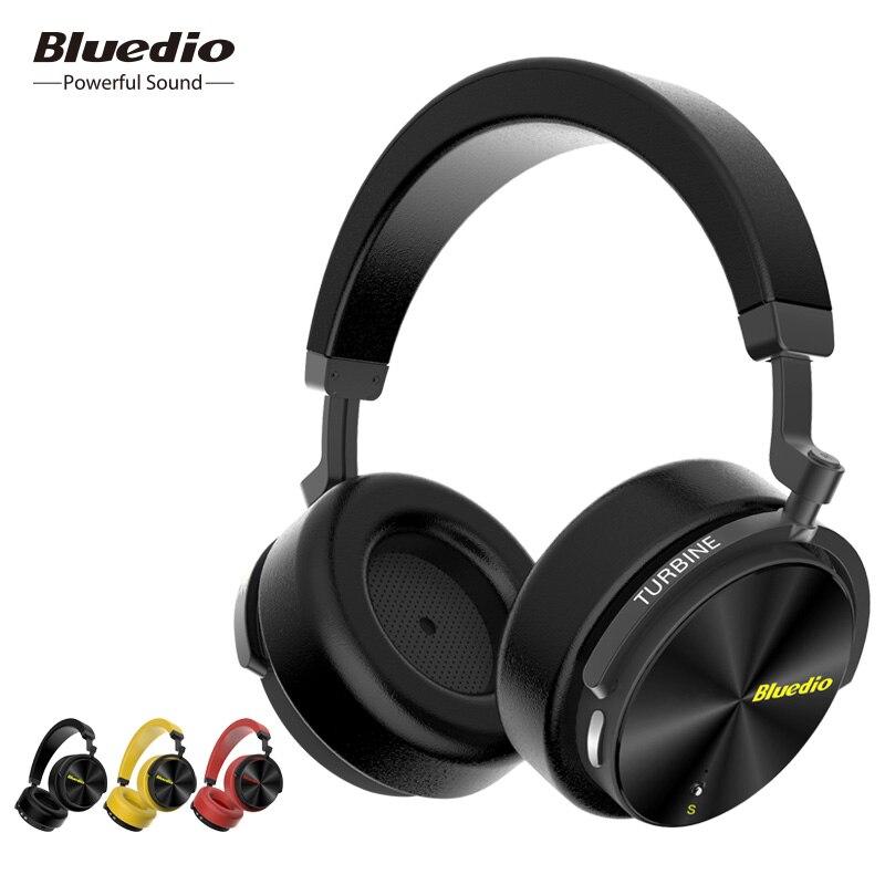 Bluedio T5S Active Noise Cancelling fone de ouvido sem fio bluetooth over-ear fones de ouvido/fones de ouvido com microfone para telefones de música